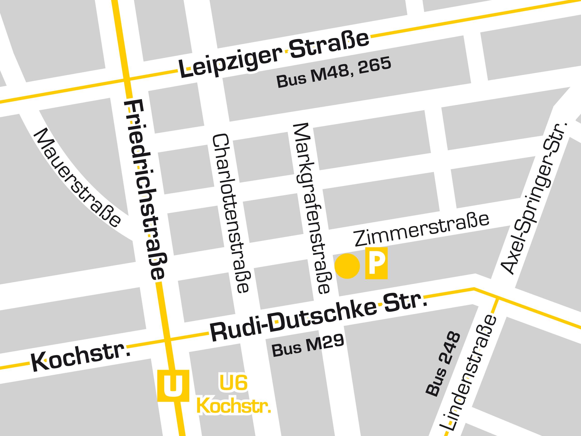 Standortgrafik und Anfahrt Zahnarztpraxis Dr. Freund & Kollegen Berlin